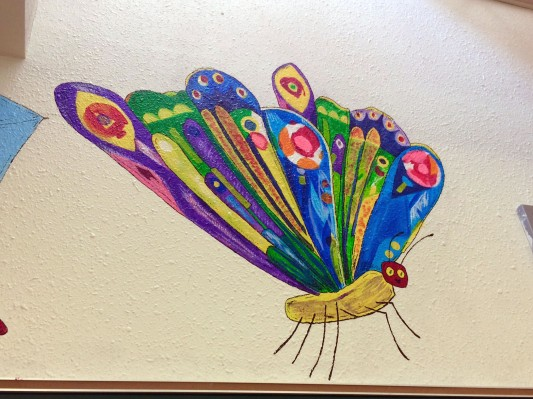 Eric Carle's caterpillar-turned-butterfly.