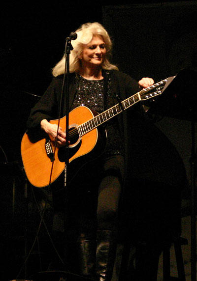 Judy Collins plays at the 2012 Woody Guthrie Festival in Okemah, Oklahoma.