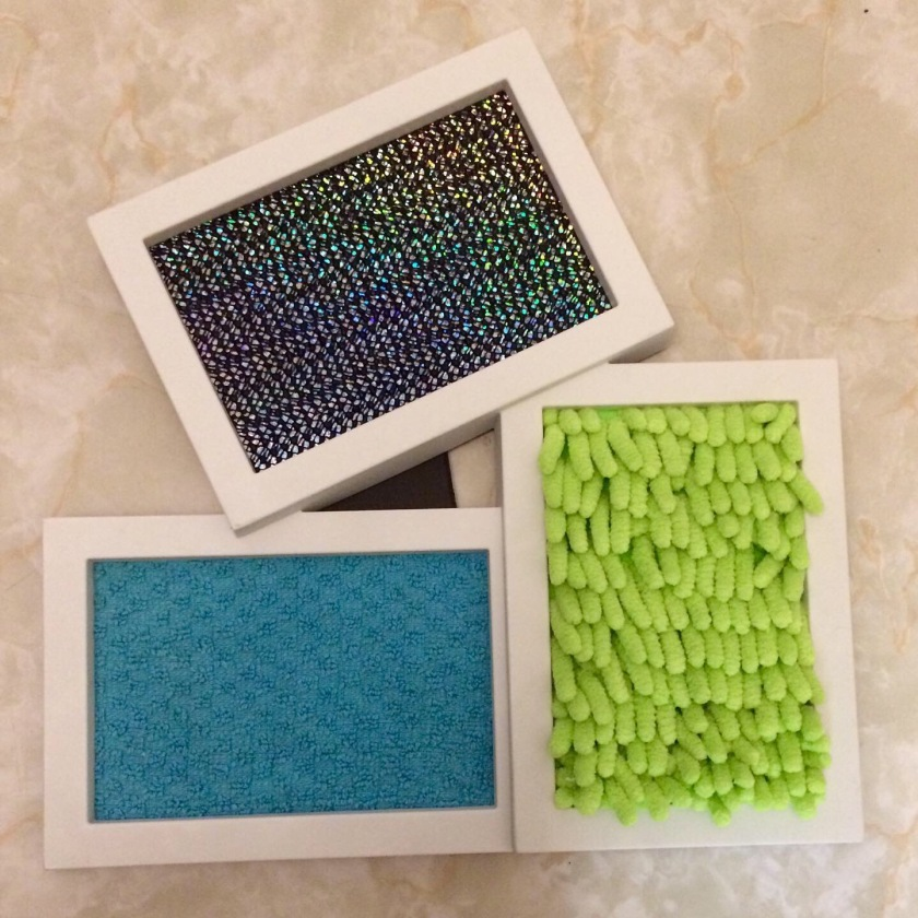 Mini sensory wall made from a picture frame
