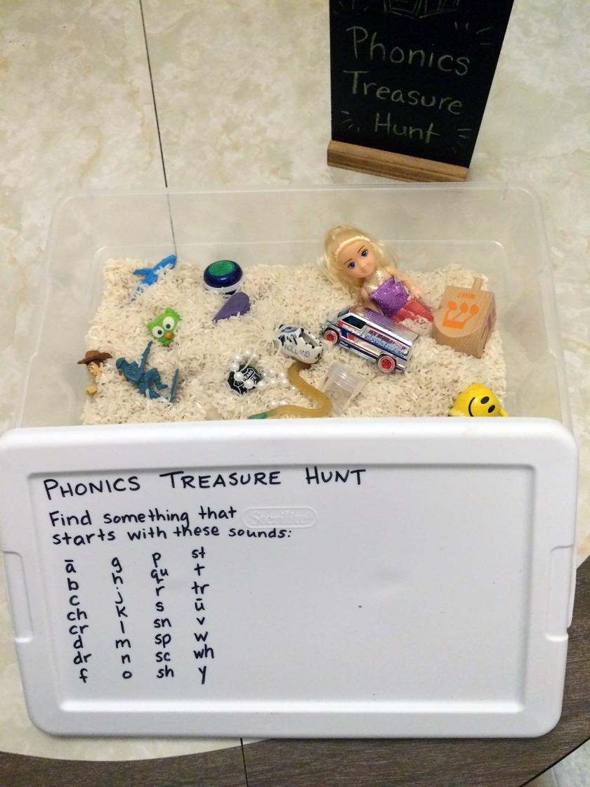 Sensory bin with items correlating to starting sounds